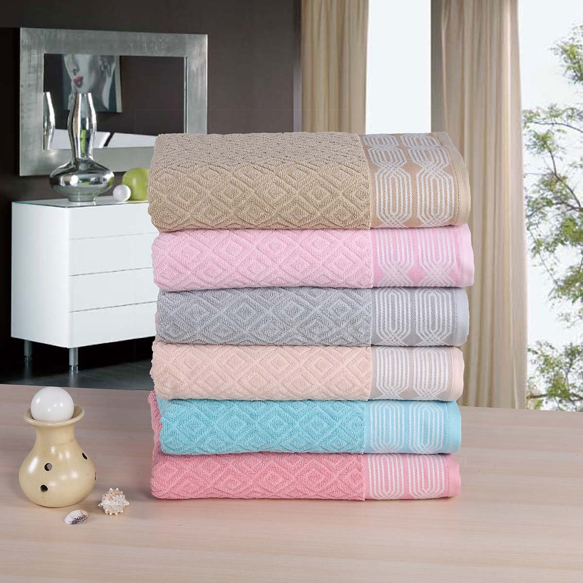 Louisa Bath Towels stacked