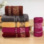 Morgan Bath Towels of various colours stacked together