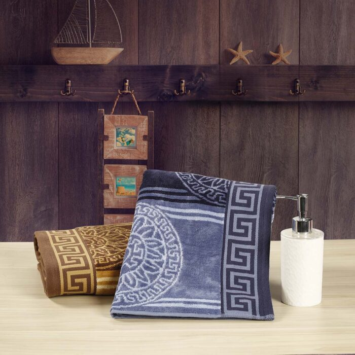 Blue and Brown Zig-Zag Bath Towels